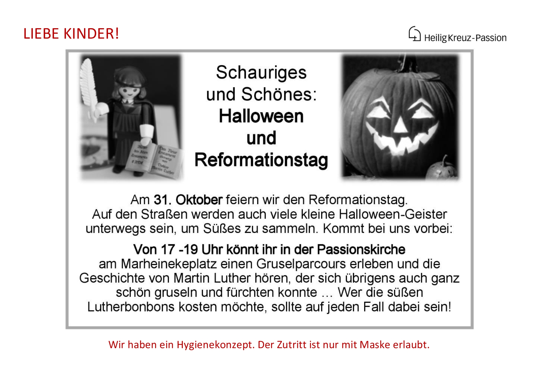Reformationstag Halloween Aushang 31.10.20